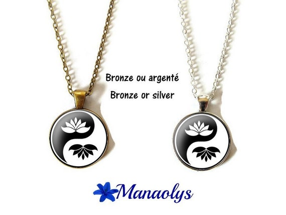 Flower necklace lotus, yin yang, zen, cabochons glass, silver or bronze backings