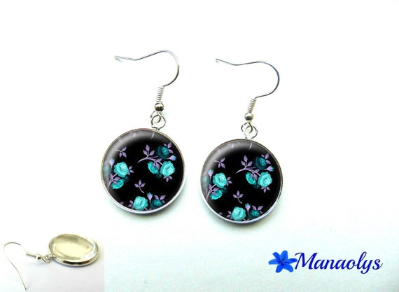 Pink Blue earrings, purple leaves on black background, 1130 glass cabochons