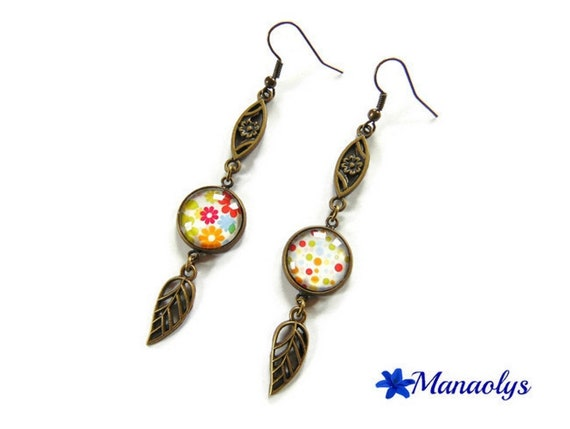 Earrings cabochon bronze glass flowers and leaves and flowers bronze polka dots