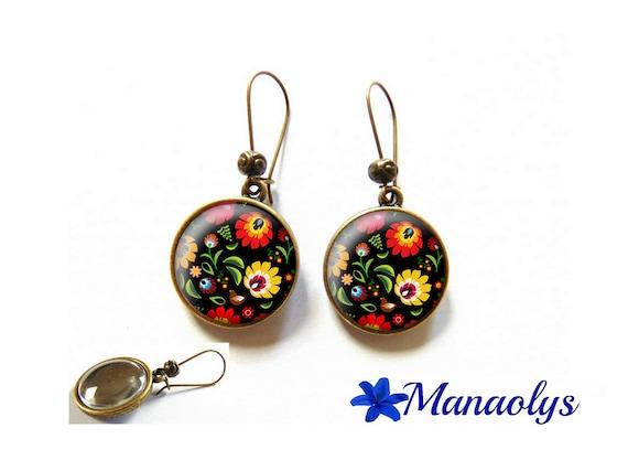 Earrings embroidery Polish, Russian, Slavic folklore, 3326 glass cabochons