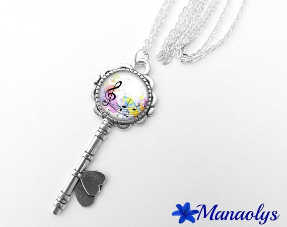 Necklace silver key, musical notes, 371 glass cabochons