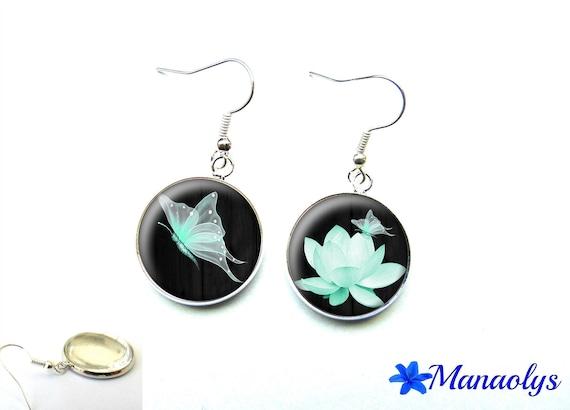 Butterfly Fairy green earrings Mint, 1543 glass cabochons