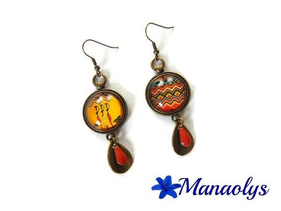 Earrings, African motifs, African women, vintage, bronze, glass, enamel drops cabochons
