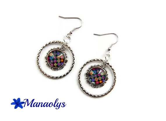 Hoop earrings, silver rings 3109 multicolored patterns glass cabochons