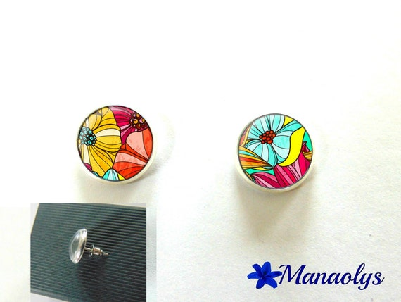 Stud colorful earrings, silver round, colorful flowers, cabochons glass 3002