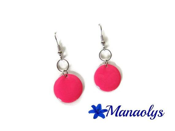 Enamel pink earrings, sequins round enamelled silver ring