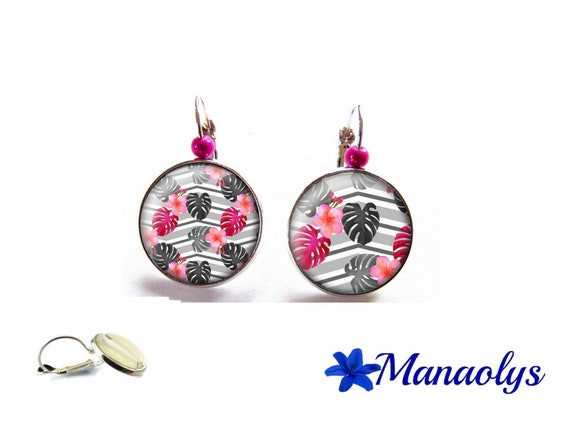 Earrings leaves and flowers, tropical, exotic, 3549 glass cabochons