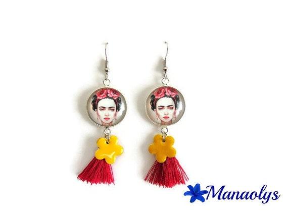 Frida kahlo, tassels, fuchsia and yellow flowers enameled, glass cabochons earrings