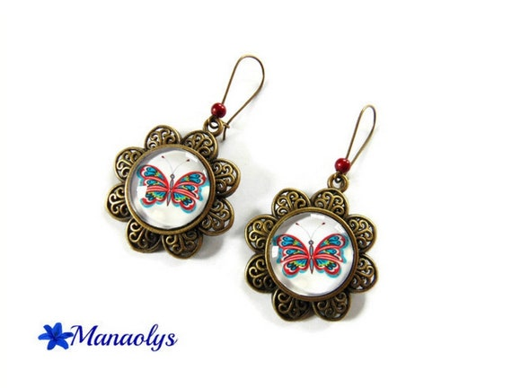 Earrings sleepers bronze vintage red and blue butterfly glass cabochons