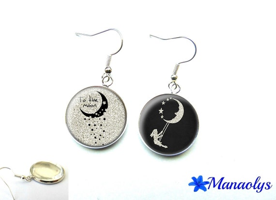 "Moon earrings, silver glass cabochon ""to the moon"" Moon and stars 2929"