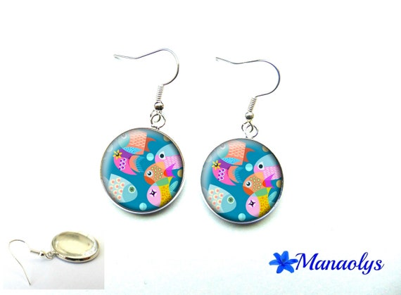 Fish, sea, vacation, colorful earrings, glass 3557 cabochons earrings