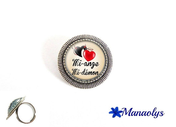 ring adjustable antique silver round, mi-ange, half-demon 209 glass cabochons