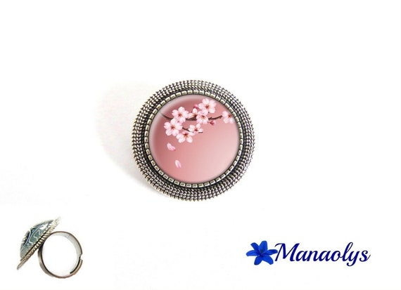 ring adjustable round silver aged, Japan, Sakura, 206 glass cabochons flowers