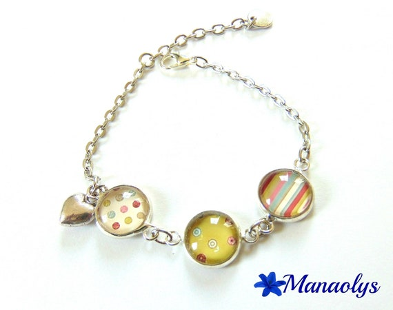 Bracelet polka dots, lines and colorful flowers, 3 medallions, cabochons glass 161