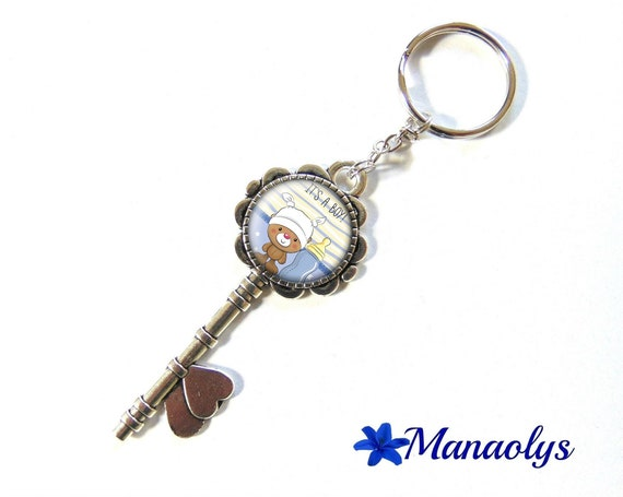 "Door keys or bag charm, birth announcement, ""It's a boy"", 157 glass cabochons"