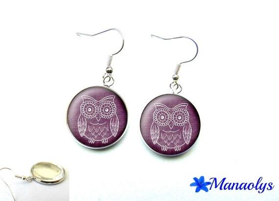 Earrings cabochon glass owl, OWL on purple background 2635