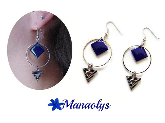 Hoop earrings, diamonds, Blue Navy silver charm rings, enamel, triangle pendants