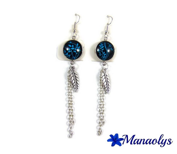 Long earrings blue leaf, silver chains 3241