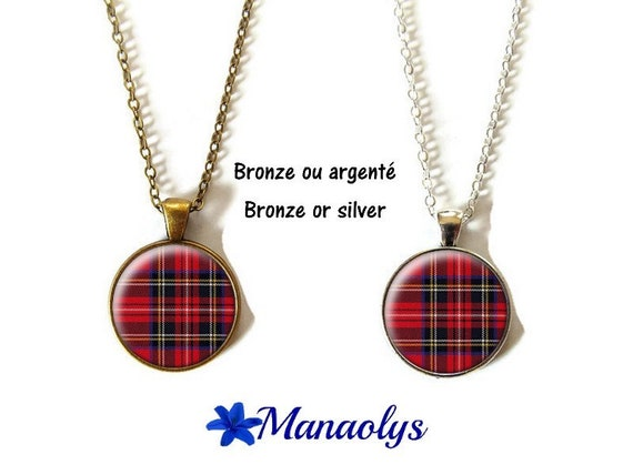 Collier carreaux,tissu écossais,tartan,plaid,tissu écossais,carreaux écossais,cabochons en verre,supports argentés ou bronze