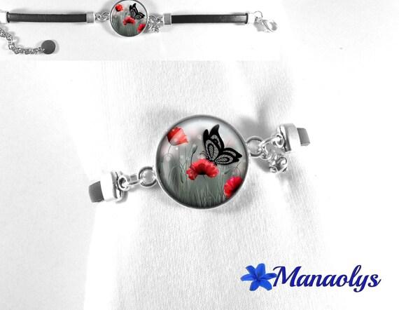 Bracelet black leather, glass cabochon butterfly and poppy 382