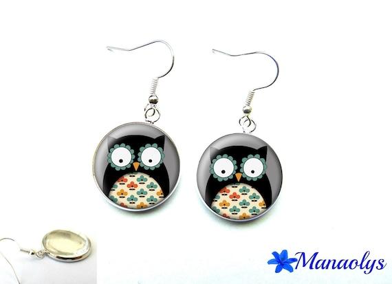 OWL earrings, owl, 2853 glass cabochons