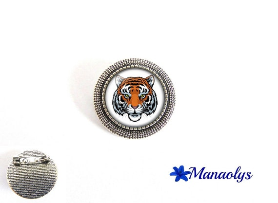 Tiger, round, silver pin brooch antique 41 glass cabochons