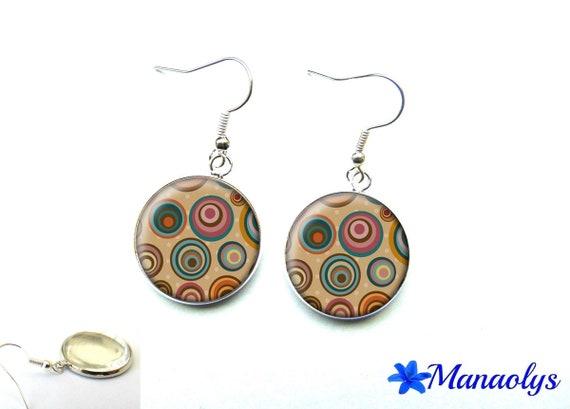 Earrings cabochon glass multicolor dots 2472