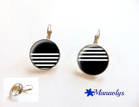 Earrings studs black and white stripes, 3343 glass cabochons