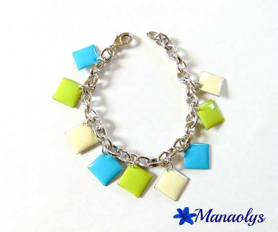Bracelet multicolored enameled charms, green, blue and ivory diamonds 147