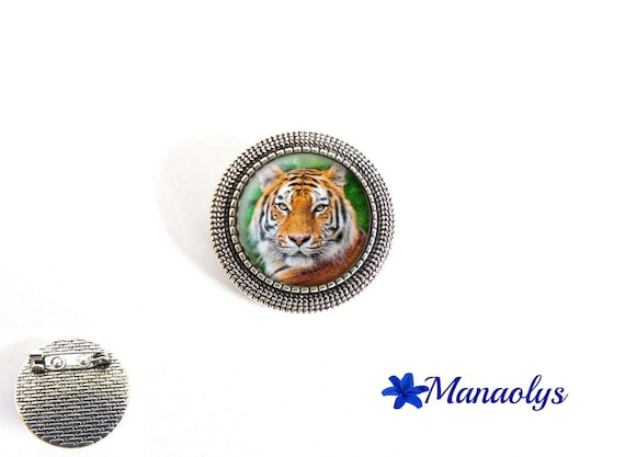 Antique Tiger, round, silver pin brooch, 40 glass cabochons