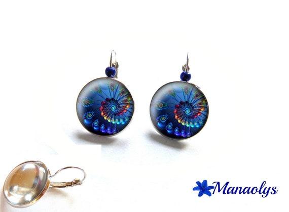 Earrings sleepers swirls, fractal, blue cabochons glass 3637