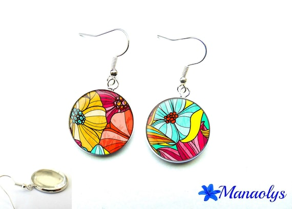 Colorful earrings, colorful flowers, cabochons glass 3001
