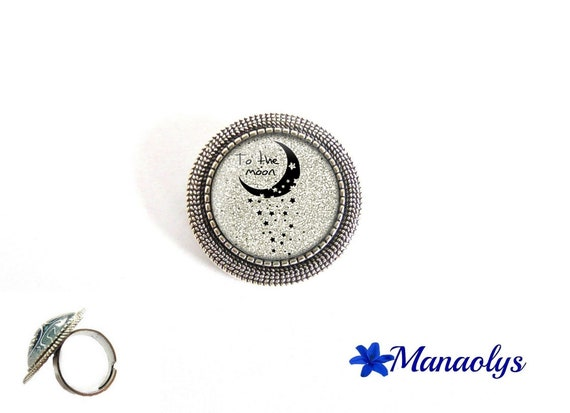 """ring adjustable round antique silver, """"To the moon..."""" Moon and stars, 194 glass cabochons"""