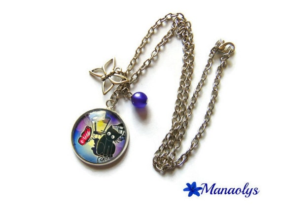 Necklace silver chain glass cabochon cat and Butterfly