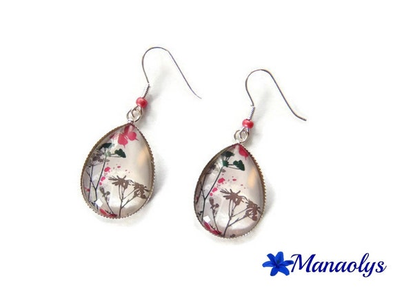 Earrings sleepers silver, drop shape, cabochons, glass, trees and Butterfly 3053