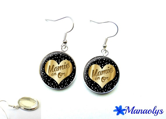 These earrings a grandma gold 2597 glass cabochons