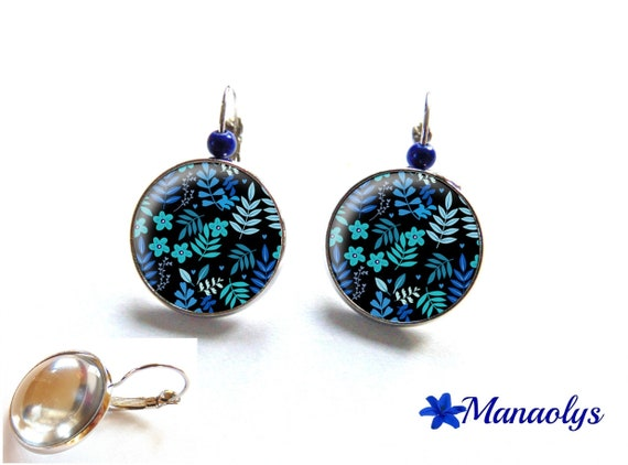 Earrings sleepers blue flowers, cabochons glass 3122