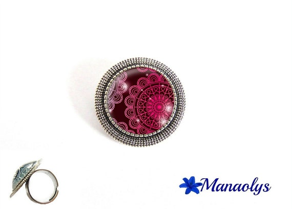 Ring adjustable round antique silver, pink lace pattern, 180 glass cabochons