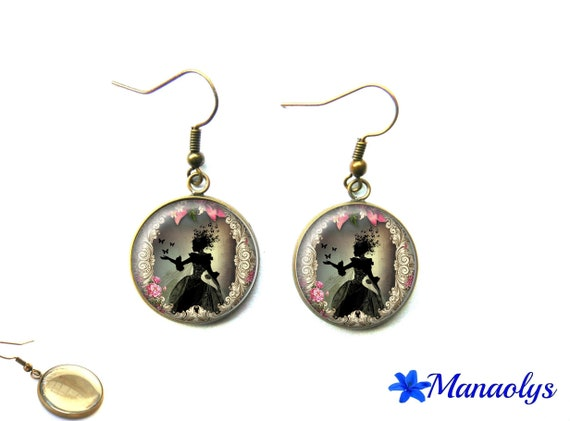 Earrings bronze vintage glass cabochons Lady butterfly, Shabby chic 2393