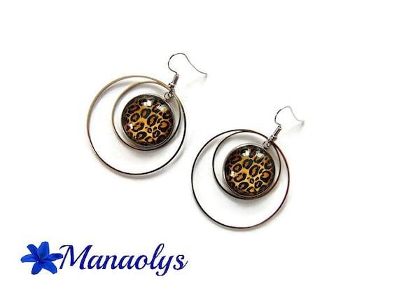 Leopard, Leopard print glass cabochons, hoops earrings