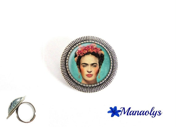 ring adjustable round antique silver, Frida Kahlo portrait, art, painting, 207 glass cabochons