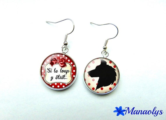 Silver earrings studs glass if the Wolf was here, red, white, black 897