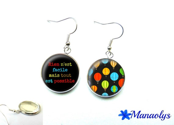 """Earrings quote, """"nothing is easy but anything is possible"""" 2600 glass cabochons"""