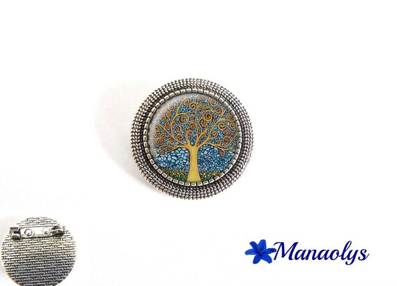 Antique silver round brooch, Gustav Klimt, tree of life, painting, art, 29 glass cabochons