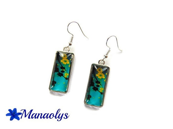 Rectangle earrings, yellow flowers on green background, sakura, glass cabochons