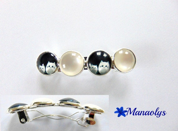 White resin cabochons, glass cat cabochons hair Barrette