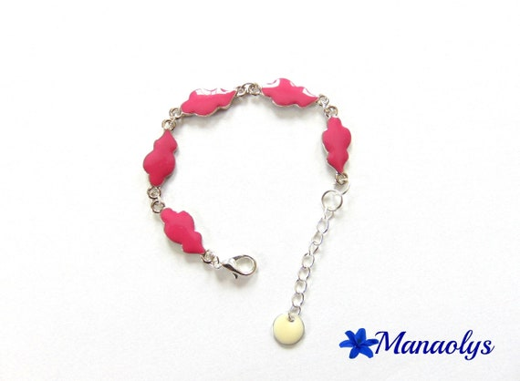 Clouds fuchsia enamel and silver bracelet