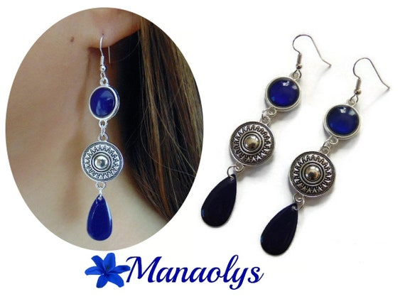 Drops earrings Navy Blue, ethnic, enamel, mother's day, Navy blue glass cabochons