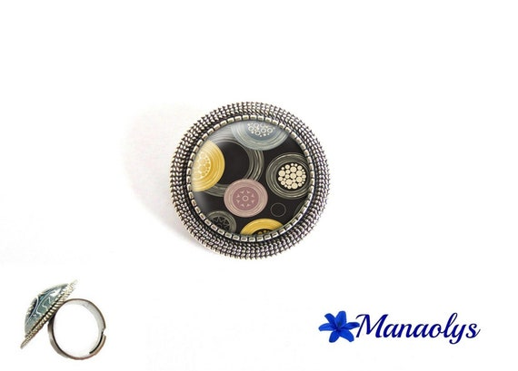 ring adjustable antique silver round, yellow, blue and pink round patterns, 203 glass cabochons