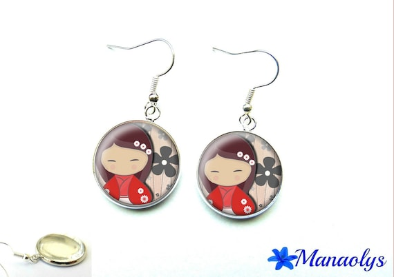 Kokeshi earrings, red and grey, glass, mother's day 1340 cabochons